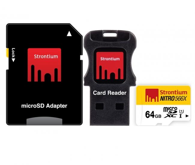 Strontium 64GB Nitro Micro SD Card 85MB/S (3in1)