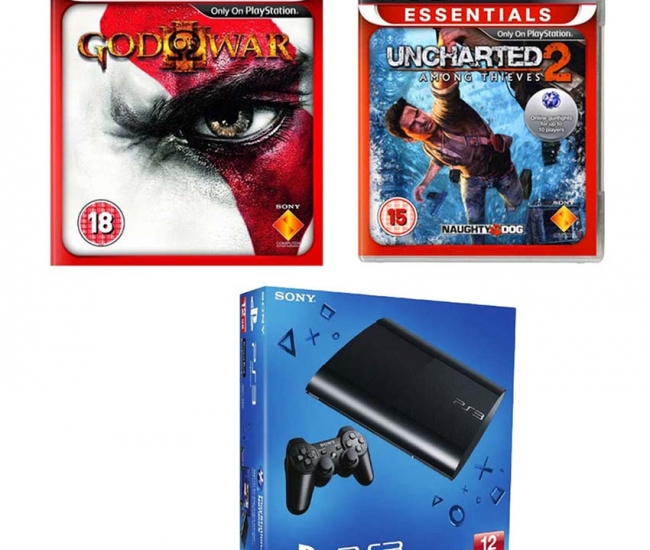 Sony 12 Gb Playstation 3 With God Of War 3 & Uncharted 2 Ps3