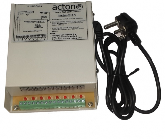 Actone Ag-108 8-channal Cctv Camera Power Supply Adaptor