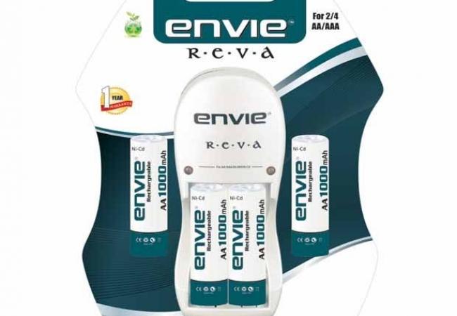 Envie Reva Charger + 4 X 1000 Ni-cd Battery