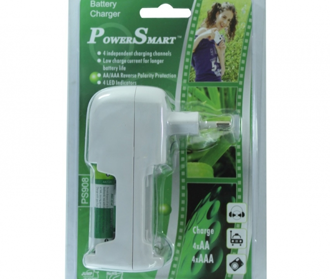 Power Smart Standard Charger With 2 Aa Batteries - 1100mah Capacity