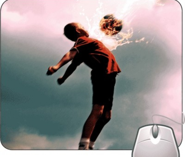 Pinaki Fire Football on Chest Mousepad