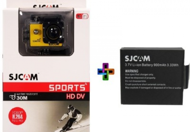 SJCAM SJ Sjcam 4000 Sj _8 Sjcam 4000 Wifi Yellow_1Battery Sports & Action Camera
